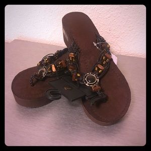 NWT Beaded Wedge Sandals